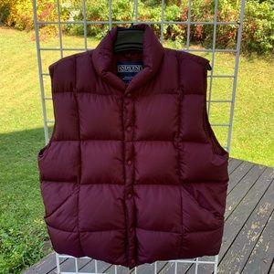 Men's L 42-44 LANDS' END Wine Red Goosedown Vest